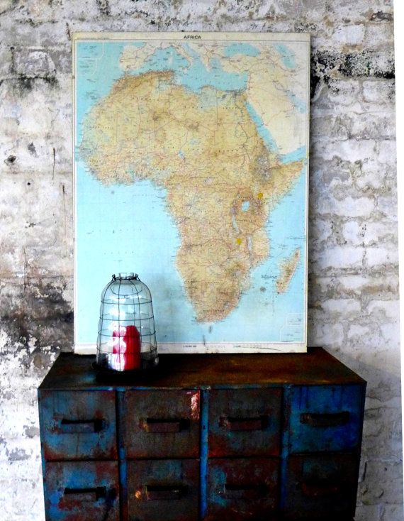 its amazing what a vintage map can do for your home ambience, they have an aura of adventure, history, and mystery. Vintage 1970s large school geographical map of Africa