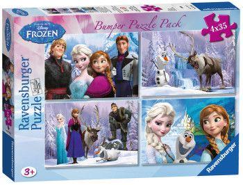 Dětské puzzle Walt Disney: Frozen: Ledové království - 4 x 35 dílků Ravensburger 140 dílků