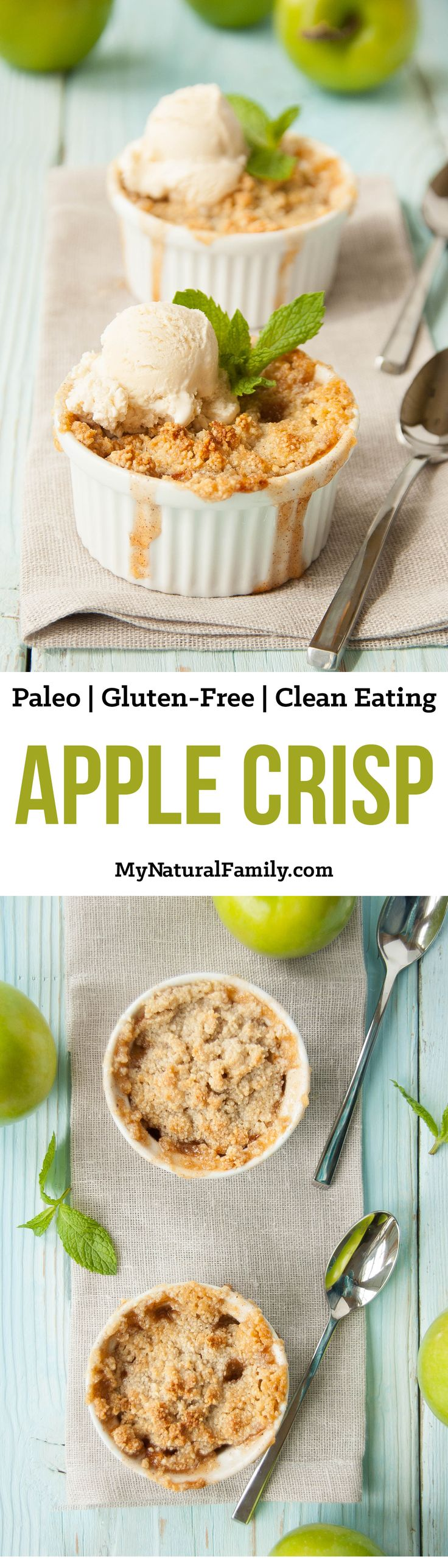 This Paleo apple crisp recipe is buttery, sweet, and crunchy. The arrowroot starch helps the cooked apples achieve a glossy, thick sauce while the honey sweetens it just enough. {Paleo, Gluten-Free, Clean Eating}