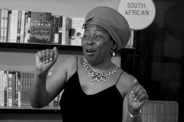 21 Icons' Gcina Mhlophe dancing at Love Books.