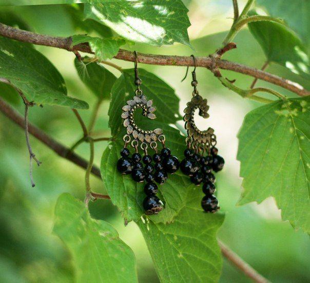 """Серьги """"Черные грозди"""" Бусины - черный агат"""