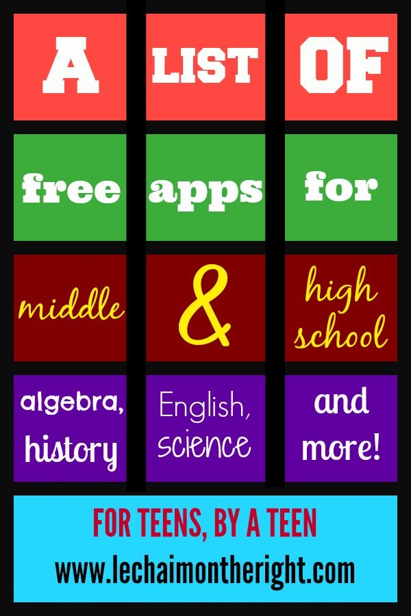 A list of free apps for middle and high school || Le Chaim (on the right)