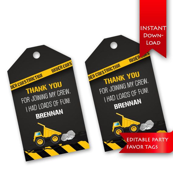 Construction Birthday Party Favor Tags - Download, type name, print and cut. Adorable!