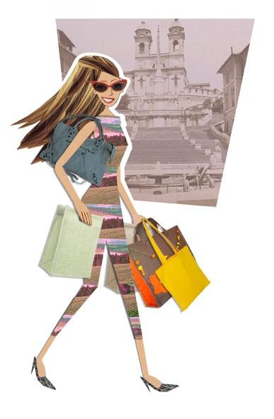 A DAY IN ROME: the best addresses for shopping in the Eternal City, lo shopping a Roma, indirizzi segreti, consigli e guide di stile a portata di clic (thanks to Marisa Vestita illustrator)