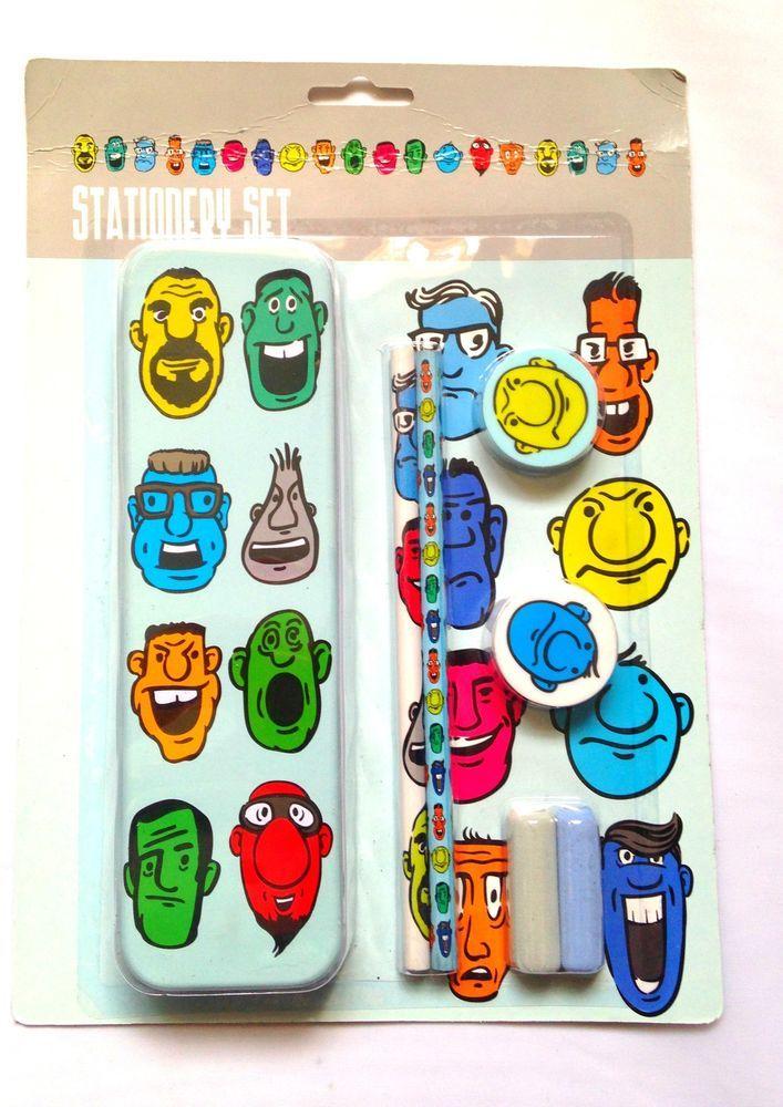 Faces School Set -Tin Pencil Case 2 HB Pencil 2 Grips 2 Toppers