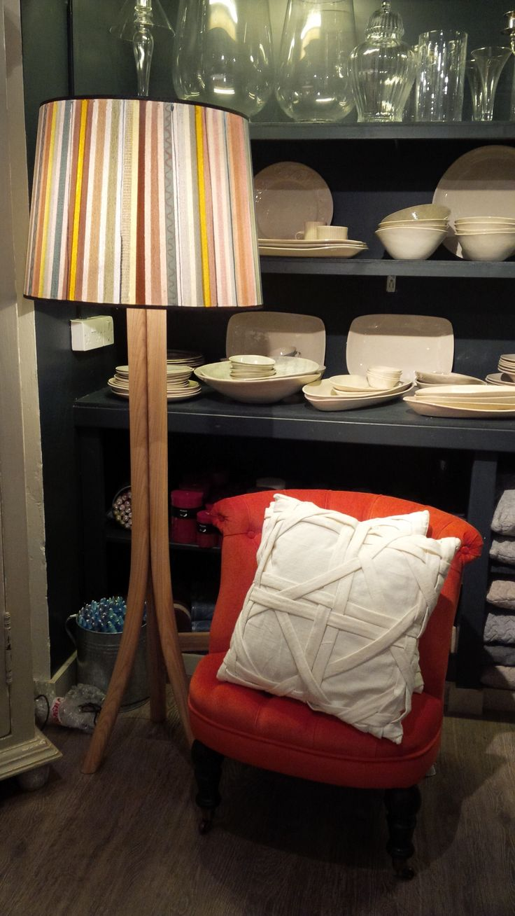 Orange velvet chair and lamp with hand painted shade