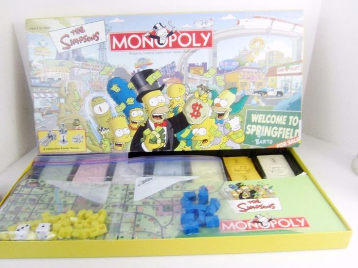 Nothing better than combining a traditional #Monopoly game with your favorite #Simpson characters! USAopoly The Simpsons Monopoly Set has a board set in Springfield with terrific character pewter tokens. 1991 issue.