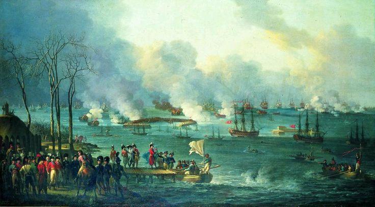 Christian August Lorentzen (1749-1828): C.A. Lorentzens maleri af den afsluttende fase af Slaget på Reden er udført allerede i 1801. Det viser kronprins Frederik omgivet af sin stab på Kastelspynten klokken tre om eftermiddagen, da båden me