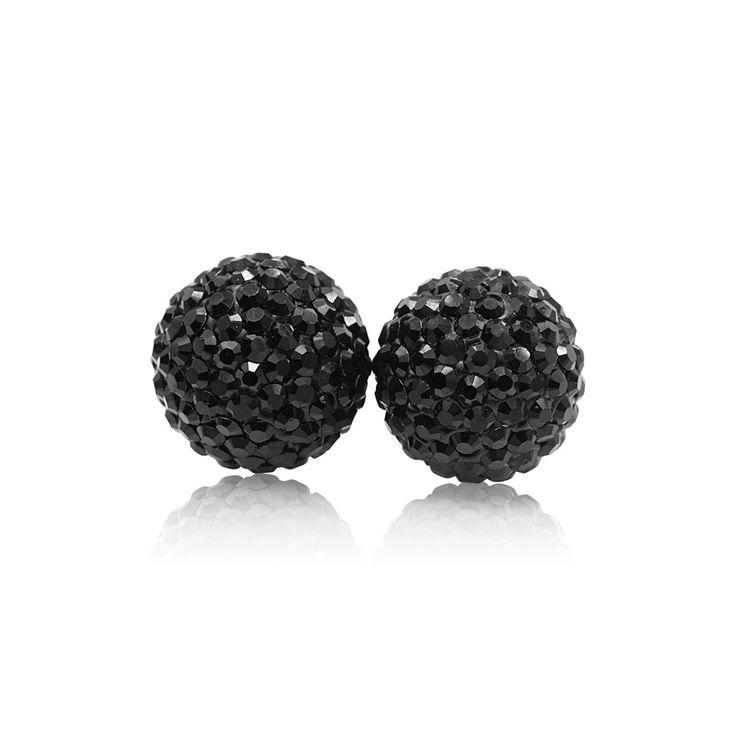 10mm Black Sparkle Ball Stud Earrings by Hillberg & Berk