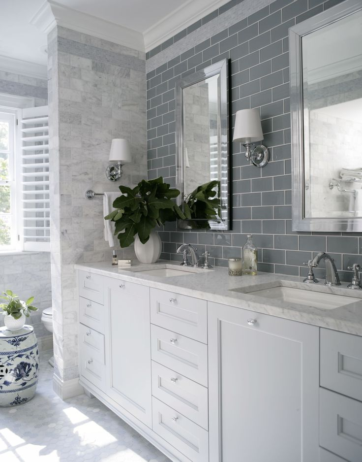 Blue grey subway tile over double sink with marble for White and gray bathroom ideas