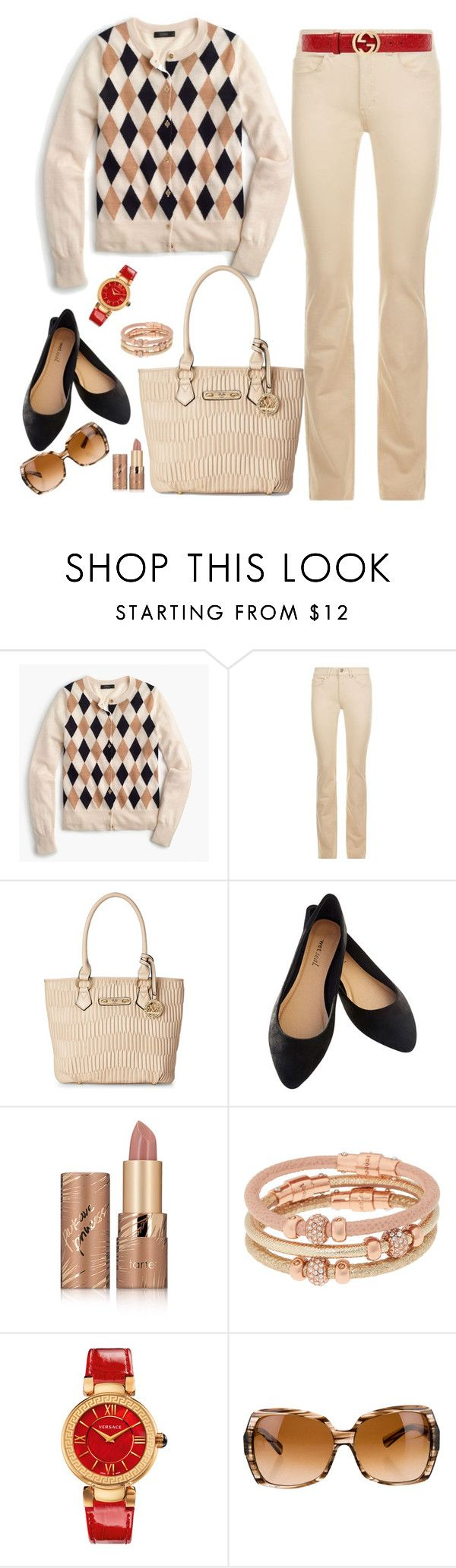 """""""J Crew Sweater"""" by mandeerose ❤ liked on Polyvore featuring J.Crew, Escada Sport, Versace 19•69, Wet Seal, tarte, Henri Bendel, Versace and Gucci"""