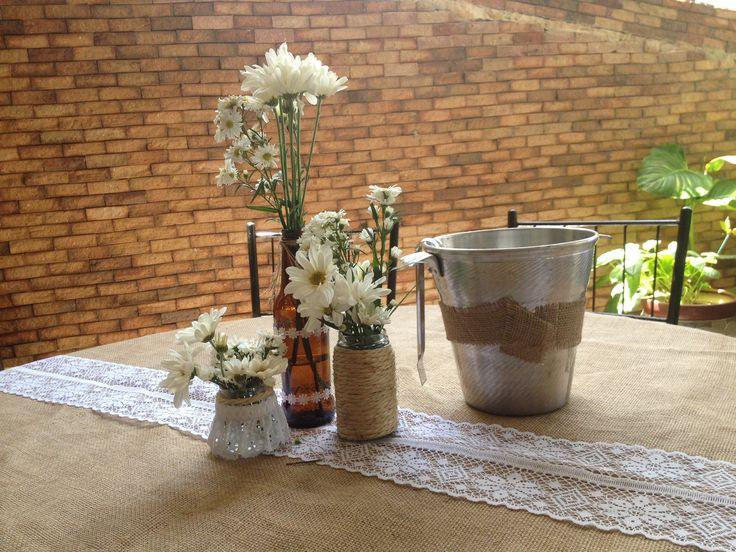Centro de mesa ecologico estilo rustico sencillo y - Centro de mesa rustico ...