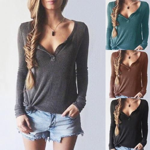 Womens Autumn V Neck Long Sleeve Tops Blouse T Shirt