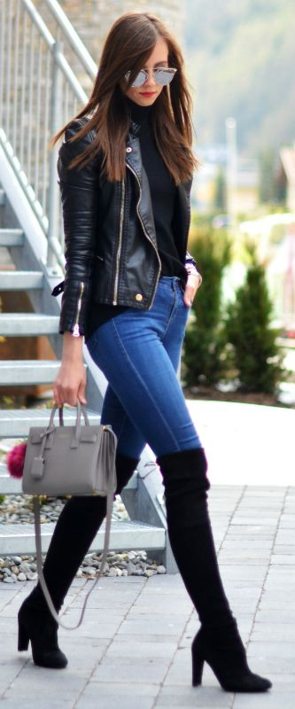 Barbora Ondrackova + stylish leather jacket look + black turtle neck sweater + skinny denim jeans + classic over the knee boots + sophisticated yet casual + perfect for everyday wear   Turtle Neck: Proenza Schouler, Jeans/Jacket: Topshop, Boots: Stuart Weitzman, Bag: Saint Laurent, Sunglasses: Dior.