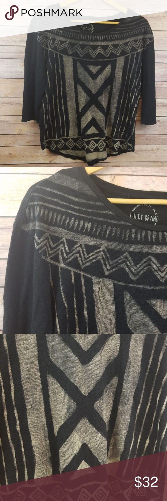 """Lucky Brand Womens Black Chalk Aztec Tribal Medium Lucky Brand Womens Black Chalk Aztec Boho Tribal Pattern 3/4 Sleeve Top Medium  Excellent used condition- no rips, stains, smoke free home. Pit to pit: 20"""" Shoulder to hem: 24"""" Lucky Brand Tops Blouses"""