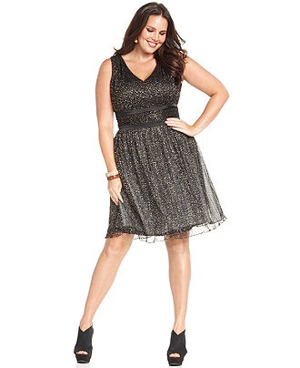Jessica Simpson Plus Size Dress, Sleeveless Metallic - Plus Size Dresses - Plus Sizes - Macy's