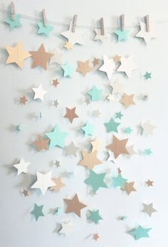 Mint, Shimmer Gold, and Ivory Stars Paper Garland | Baby Shower Decor