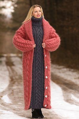 Pastel Vermelho Hand Knit mohair Casaco cardigã longo Fuzzy grosso por supertanya M L