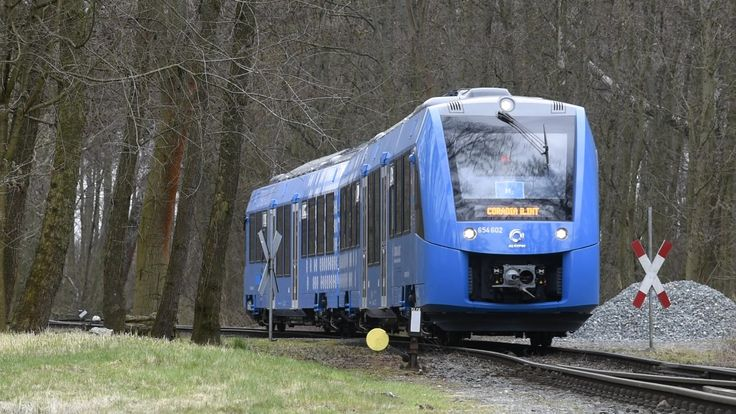 This hydrogen powered passenger train is being tested in Germany. It is nearly silent and emits nothing but water.