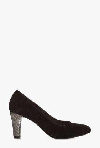 Pantofi negri din piele intoarsa 1801 -  Ama Fashion