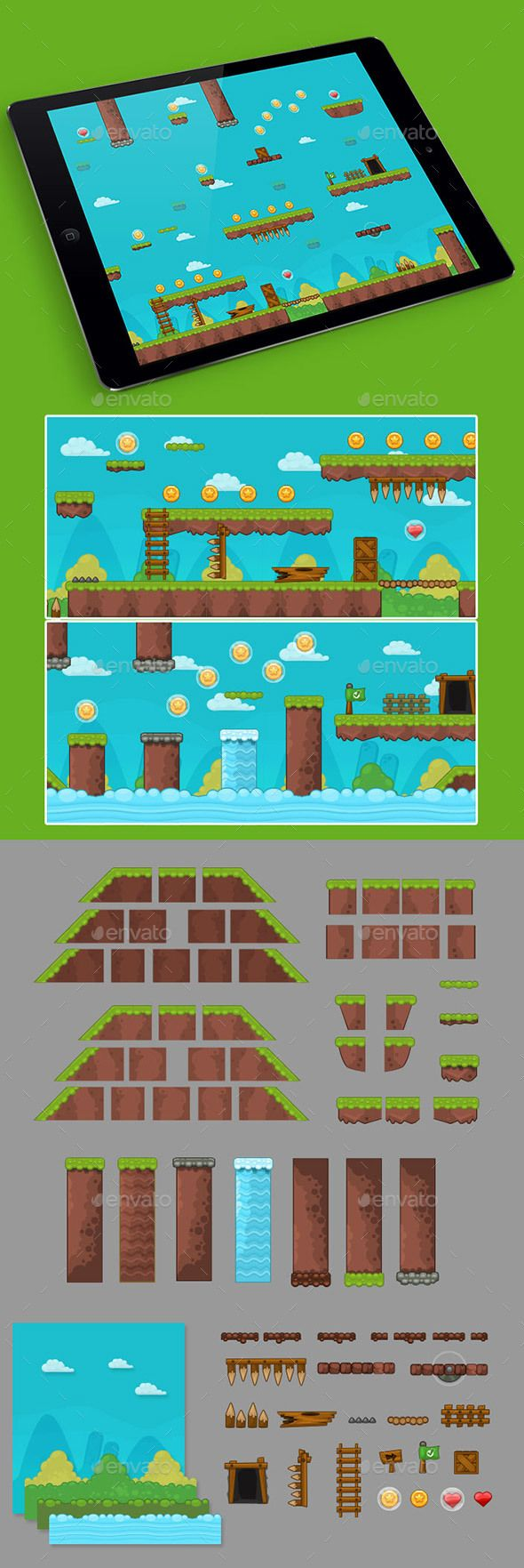 2D Grass Game Platformer Tilesets — Vector EPS #landscape #mobile • Available here → https://graphicriver.net/item/2d-grass-game-platformer-tilesets-/15591775?ref=pxcr