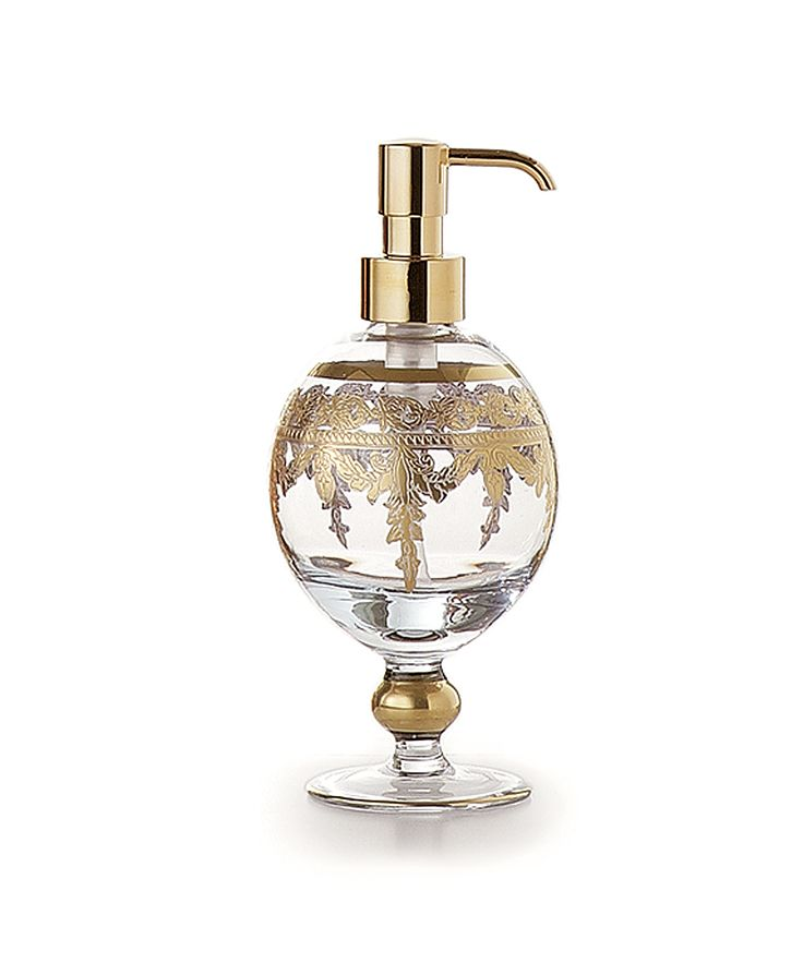 Baroque gold soap pump made from clear glass by artisans for Clear baroque glass