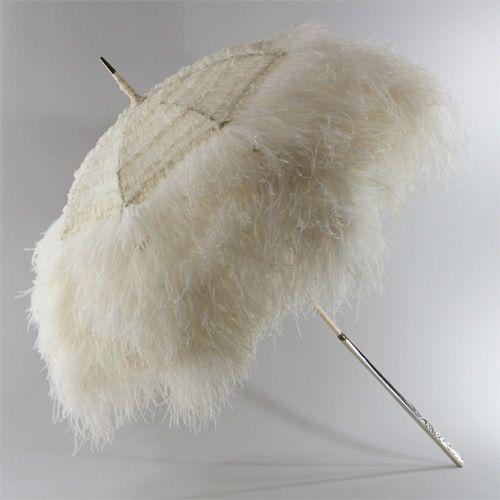 Longchamps feathered parasol