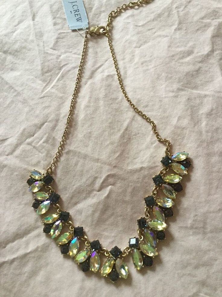 NWT ! J. Crew Iridescent Gold Crystal Cluster Necklace Fashion Statement
