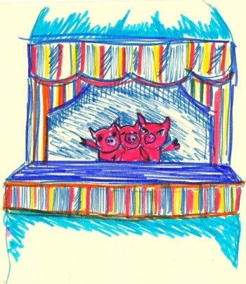 Drawing of the Little Gem Puppet show of the Three Little Pigs by Aoife O'Toole from the National Museum