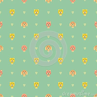 Dog Bear Kitty Lion with love vector patterm
