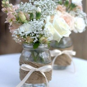 Twine, mason jar, vase, decor, weddings, baby showers, parties, holidays