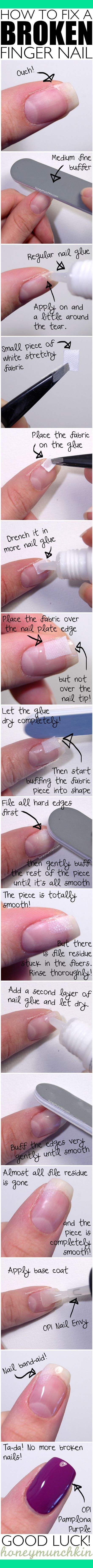 "Tutorial: How to fix a broken finger nail. Not sure what type of ""stretchy fabric"" they're advocating,but I'd recommend using either a fiberglass wrap fabric,or silk wrap.Both are available in most drug stores.A pro repair is always the most effective solution,but this can get you by! ;o)"