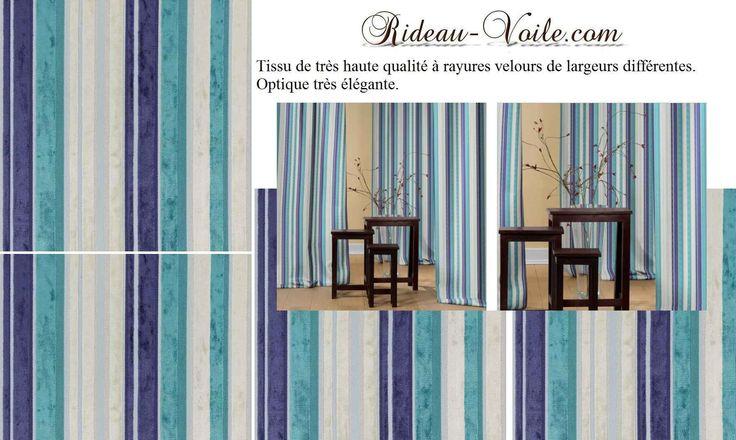 Rideaux rayé velours coloré unis deco www.rideau-voile.com