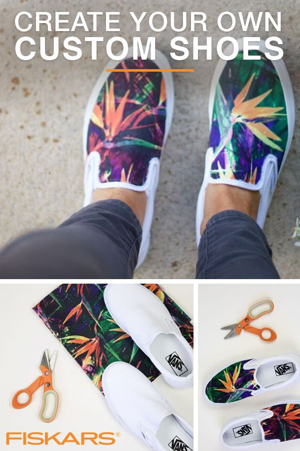 If you have a white pair of sneakers, you can make them look however you want with this easy customizing method from Fiskars! Simply go to your local fabric store and find a print you love, cut it to size, and adhere it to your canvas kicks! You'll have people asking where you got them in no time. Go to Fiskars.com for more awesomely easy ideas like this.