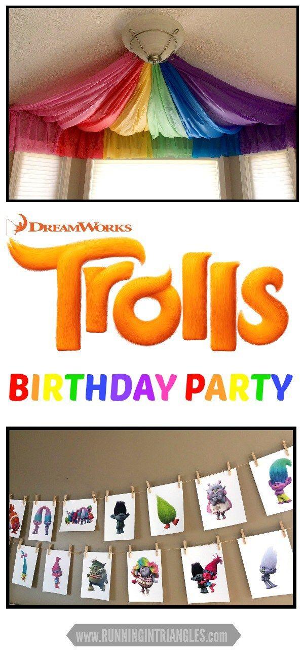 Trolls Theme Birthday Party, Dreamworks Trolls, Rainbow Theme Birthday Party, Trolls Clipart, Rainbow Ceiling Swag, Ceiling Canopy, Plastic Tablecloth Ceiling Swag, Rainbow Party Decorations, Trolls Party Decorations