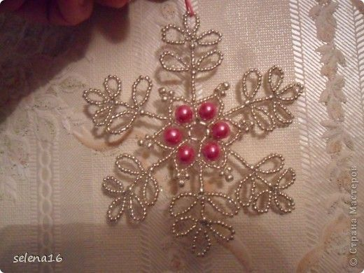 Beaded Snowflake PATTERN easy to follow diagram and examples using different colours