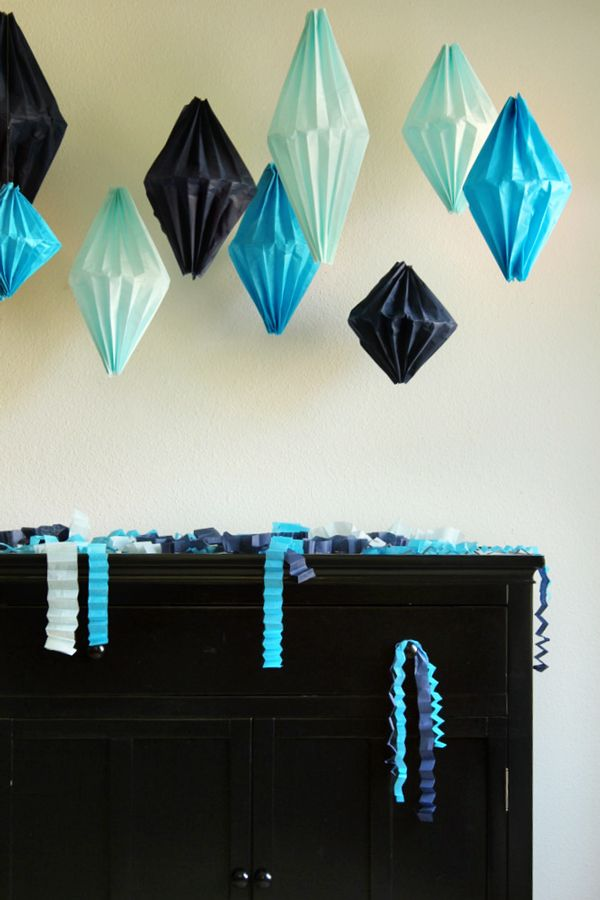 DIY Geometric tissue paper Lanterns -- tutorial by Jenny at Oh Happy Day