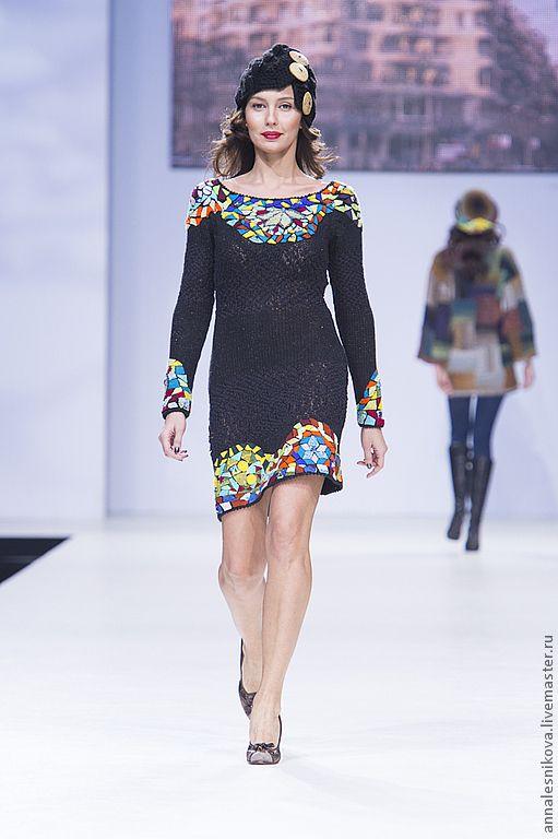 """Купить Платье """"Мозаика Гауди"""" - черный, рисунок, Анна Лесникова, трикотаж от кутюр, дизайнерская одежда"""