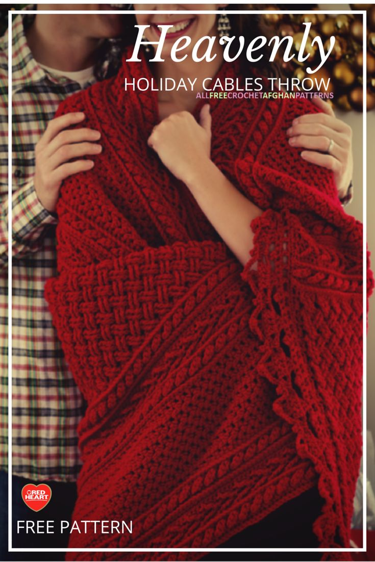 Heavenly Holiday Cables Throw Crochet Pinterest Crochet