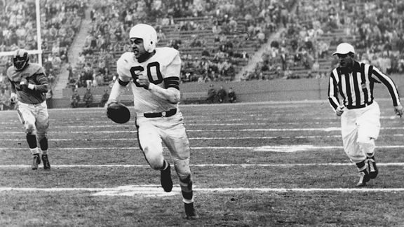 Spectacular college and professional quarterback; Otto Graham of the Cleveland Browns won seven league titles in ten years with the Cleveland Browns; two-time NFL MVP (1953, 1955).
