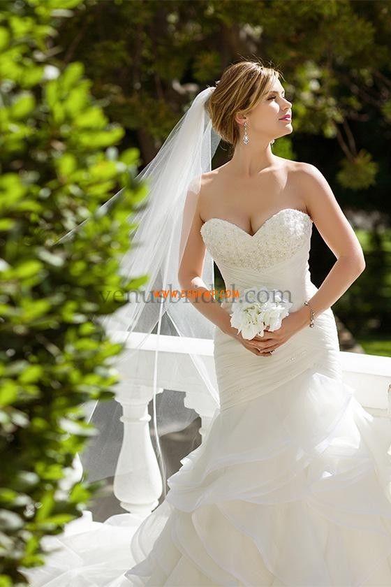 Áčkový střih Retro inspirace Bez ramínek Svatební šaty 2015