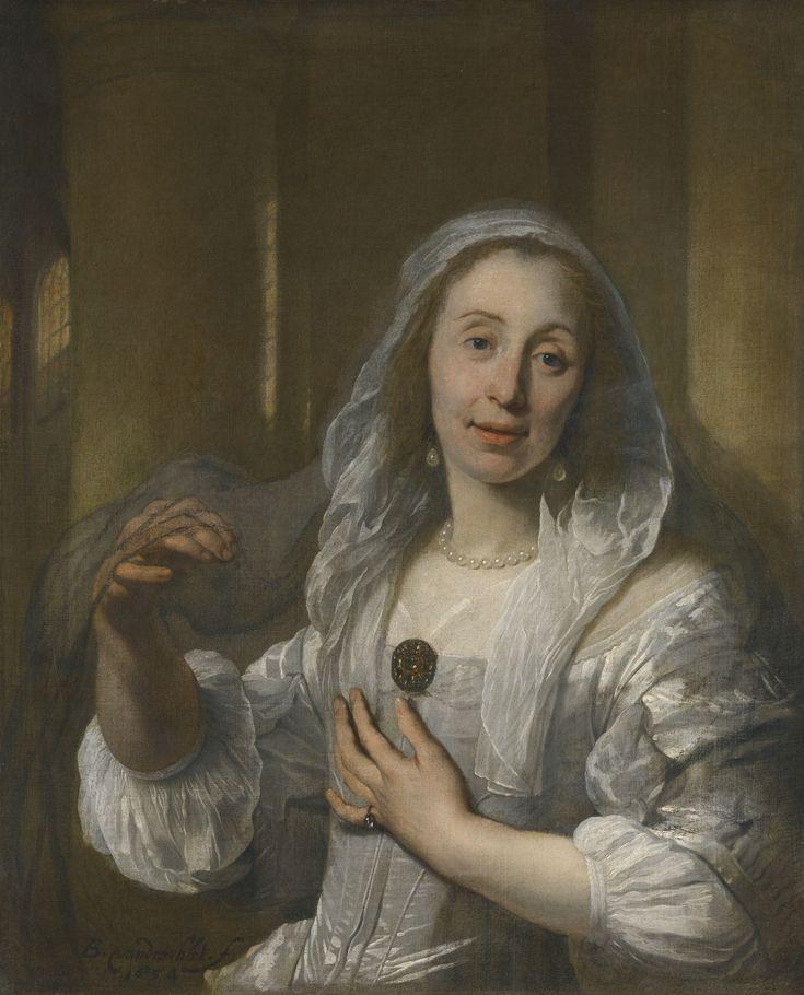 Bartholomeus van der Helst - Portret van een dame in witte jurk