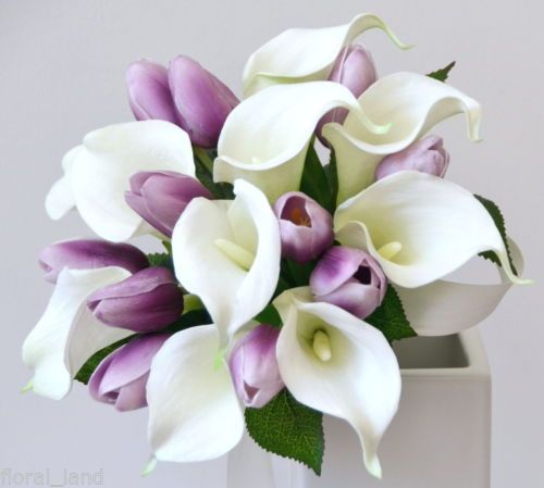 Latex White Calla Lily Purple Tulip Wedding Bouquet Posy Flower Silk    Purple And White Tulip Bouquet