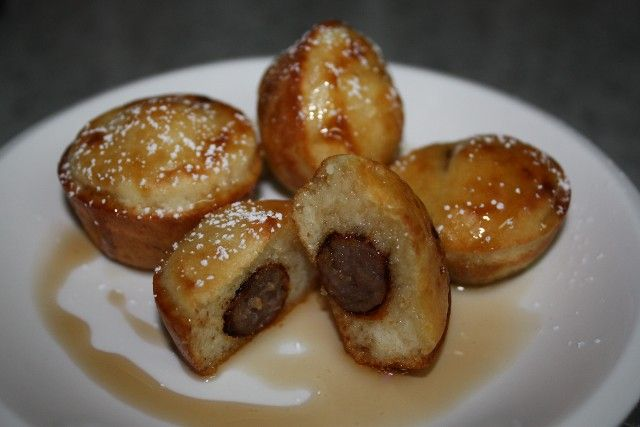 Mini Pancake & Sausage Bites. I made these and they are SOOOO good! I put the recipe on my site.