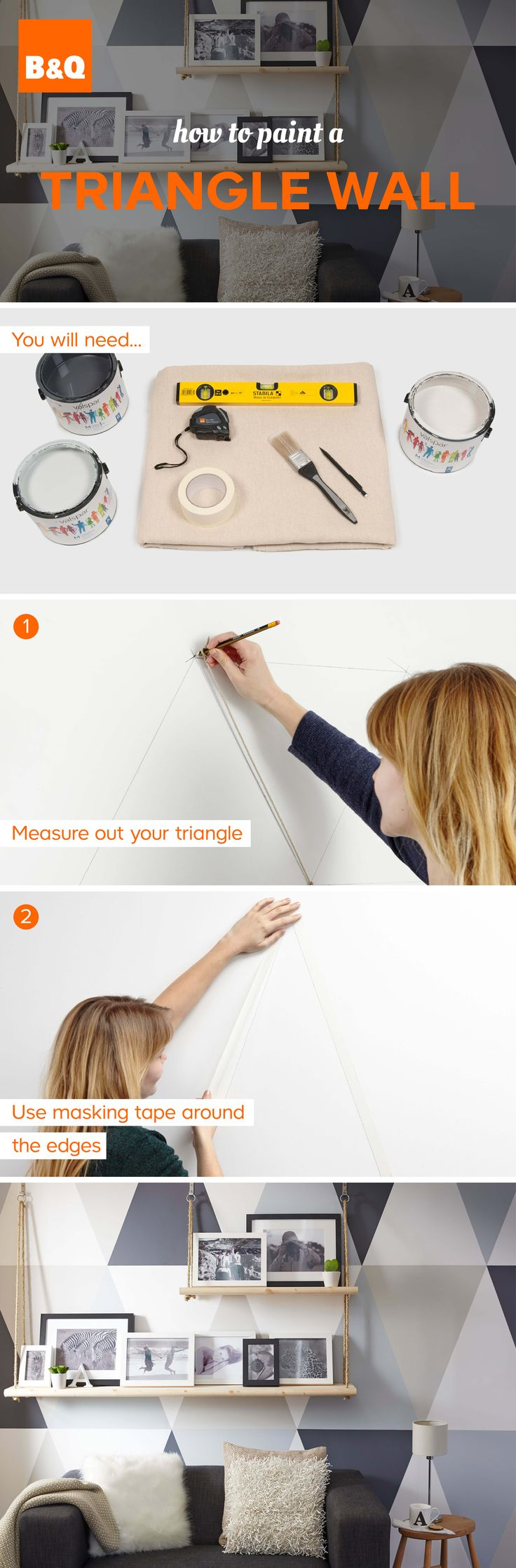 Make a feature of your wall with painted triangles. Simple and really effective.
