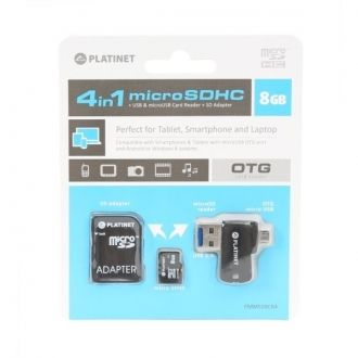 PLATINET 4-in-1 microSD 8GB + adapter SD + adapter USB i MicroUSB OTG Czytnik kart SD/microSD 4 w 1 do tabletów, smartfonów, telefonów komórkowych, PC, aparatów cyfrowych i innych urządzeń z portem USB lub microUSB. Transfer danych bezpośrednio przez port microUSB lub USB na kartę. Slot na kartę microSD, która jest nośnikiem pamięci, został ukryty w końcówce USB, a adapter zyskuje przez to dodatkową funkcję pendriva Plug & Play.