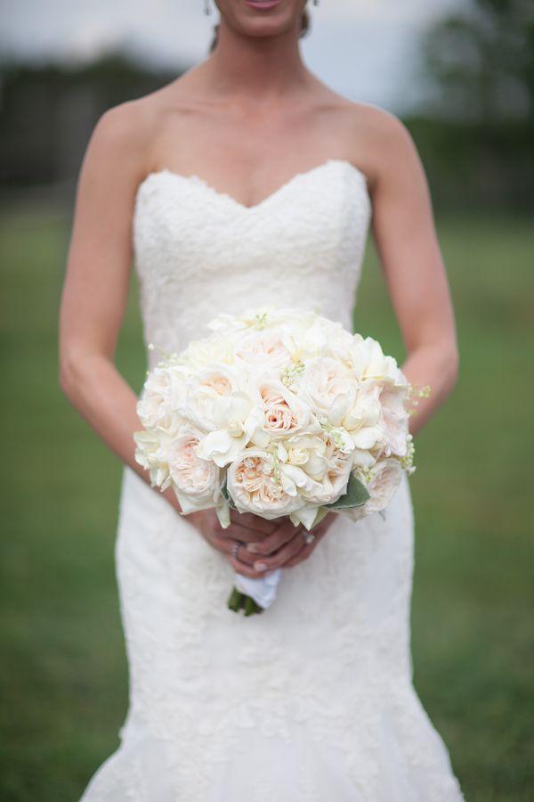 southern wedding white garden rose bouquet - White Garden Rose Bouquet