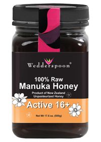 Wedderspoon Organic 100% Raw Manuka Honey ACTIVE 16+, 17.6 Ounces  antibacterial, antimicrobial, antiviral, antioxidizing, antiseptic, antiinflammatory, antifungal... oh yeah, and delicious. Benefits of Manuka honey: www.manukaonline....