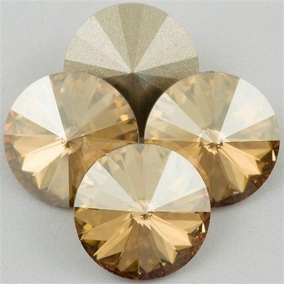 Four Swarovski Crystal 12mm 1122 Rivoli Golden Shadow SA12-001GSHA