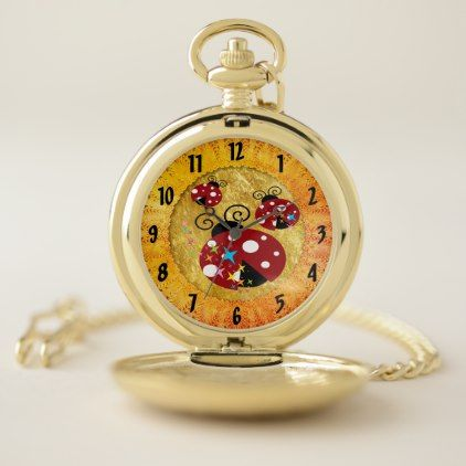 Three red and black ladybug with stars pocket watch - foil leaf gift idea special template